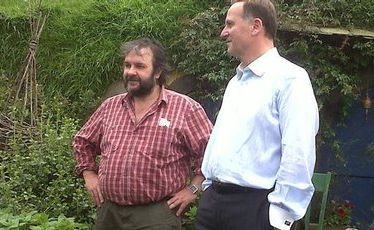 PJ with the PM. Peter Jackson and John Key at the Hobbit movie set.