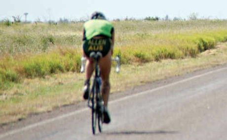 TESTING TRIP: The ride back to Julia Creek is traditionally a testing journey into a hot head wind as part of the annual Dirt N Dust Triathlon.