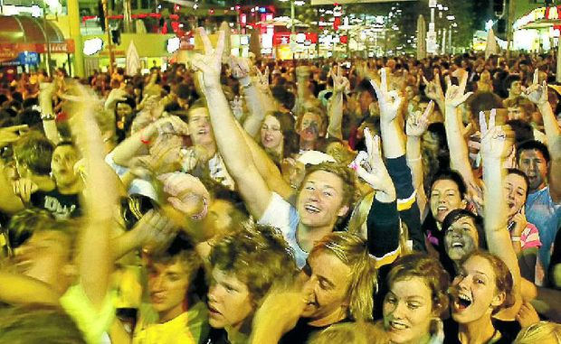 Thousands of school leavers party at the Schoolies week festival on the Gold Coast.