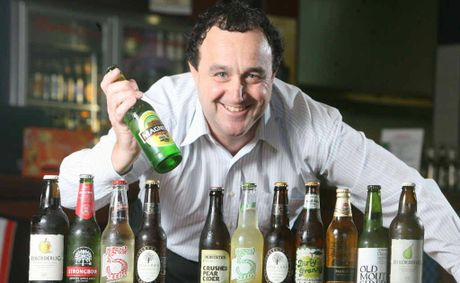 Yamanto Tavern's Peter Coultas with the huge range of ciders the tavern now supplies.
