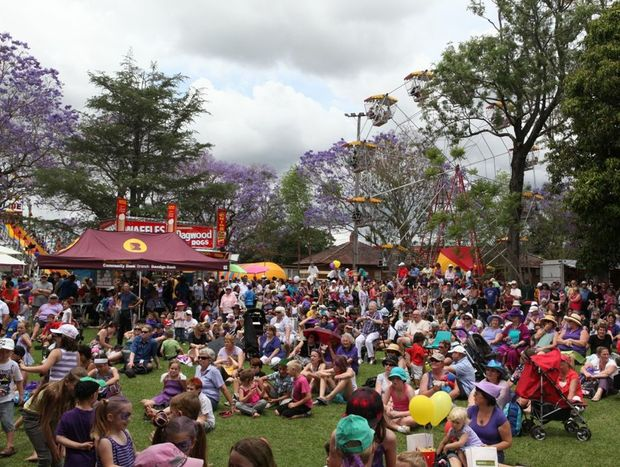 The large crowd turned out on Jacaranda Thursday at Market Square last year to see the annual Jacaranda shop dress up.