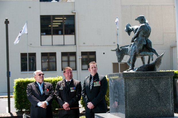 Coffs Harbour war veterans Bob Payne and Scott Seccombe with fellow local veteran Grant Roder.
