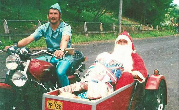 Ron Gaudron was Santa in the sidecar in the first Toy Run back in 1981. Kevin Watts is the rider and they'll both ride in the 30th anniversay Toy Run this Sunday. Where are the helmets?