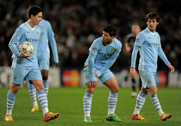 The Manchester City trio of Samir Nasri, Sergio Aquero and David Silva on route to a 1-0 win over title rivals Manchester United.