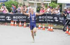 Caloundra Triathlon, Golden Beach. Jesse Featonby celebrates his win. Photo: Cade Mooney / Sunshine Coast Daily