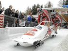 Chris Spring (front) competing for Canada in the opening race of the 2011-12 Bobsleigh World Cup at Igls, Austria.