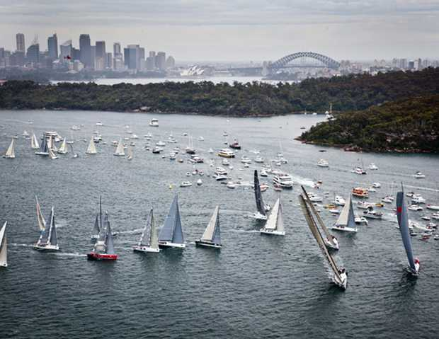 The Sydney to Hobart fleet begins it race down the south coast of Australia.