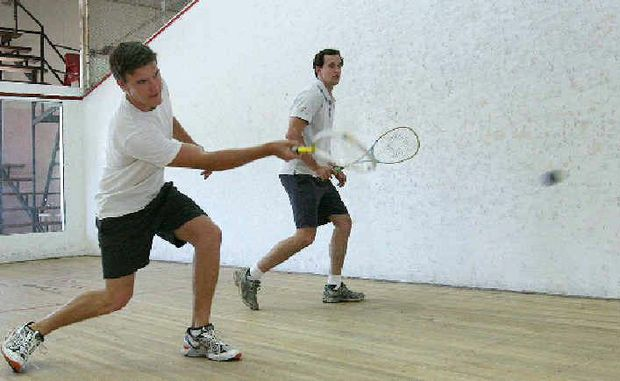 Jesse Cheyne and Ben Courtice enjoy a regular game of squash for both fun and fitness.