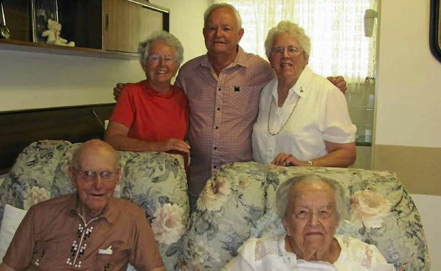 Laurie and Mavis Reibelt (front) celebrated their 76th wedding anniversary last month with their children (back, left) Mercia Easey, Laurence Reibelt and Patricia Hartnett.