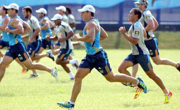 The Gold Coast Titans in training.