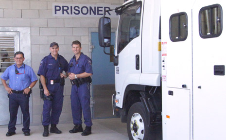 PRISON OPEN: Ernesto, Keith and Tony were just some of the staff involved in transporting offenders from Borallon Correctional Centre to the new Southern Queensland Correctional Centre last week.