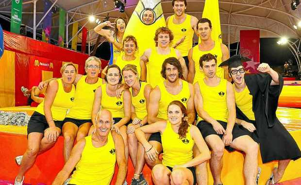 Three local lifesavers, Julie Davis, Ryan Bennett and Riley McGregor, were victorious in the revamped It's a Knockout program.