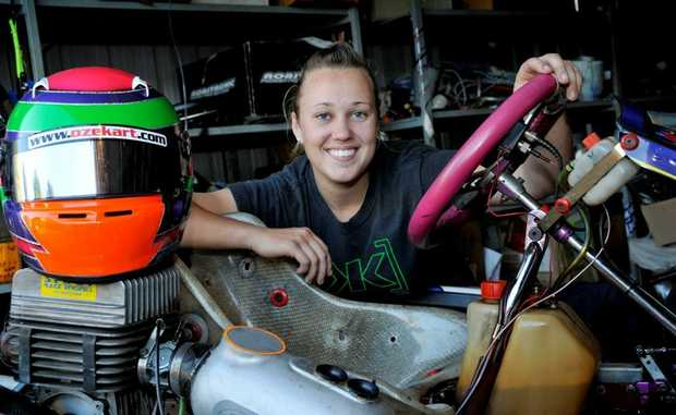 TICKLED PINK: Toowoomba kart driver Alexandra Whitley.