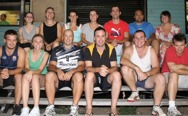 KEEN PLAYERS: 'No Idea' team members Nathan Searle, Monique Lanham, Jessica Tuite, Catherine McIntyre, John Eakin, Laurie Price, Natalie von Gelderen, Joel McBride, James von Gelderen, Tim Chalmers, Paul Taavo, Emily Chalmers and Denis Summersgill signed up for the 2012 touch football season on Monday night. Photo Aimee Vinci / Whitsunday Times