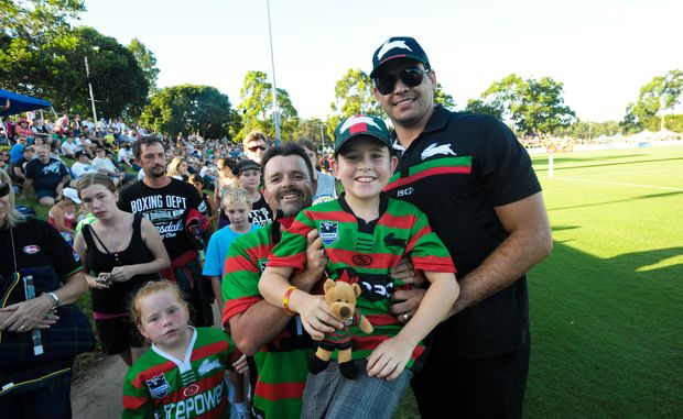 Former Bowraville junior Greg Inglis was happy to pose for photos and sign autographs for fans when South Sydney met Gold Coast in an NRL trial match at BCU International Stadium in February 2011.