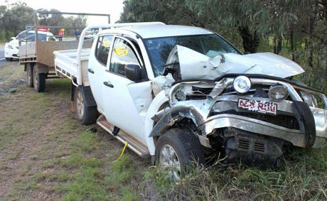 The driver of this Mitsubishi Triton sparked a chain of accidents when he failed to stop for roadworks along the Gregory Hwy.