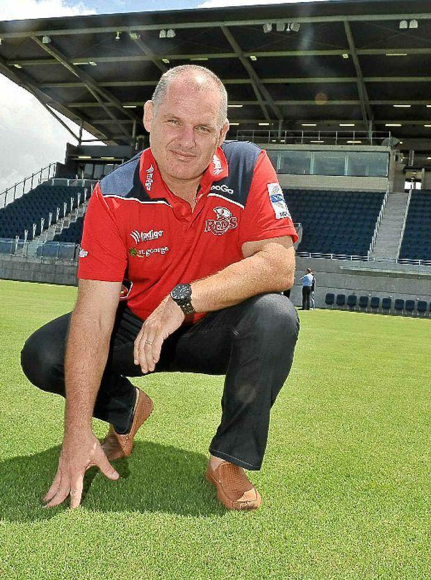 Queensland Reds coach Ewen McKenzie checks out the Sunshine Coast Stadium.