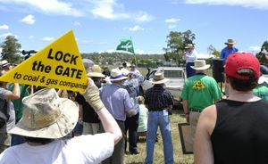 Radio broadcaster Alan Jones addresses a crowd of activists protesting against the expansion of the New Acland Coal Mine in February.