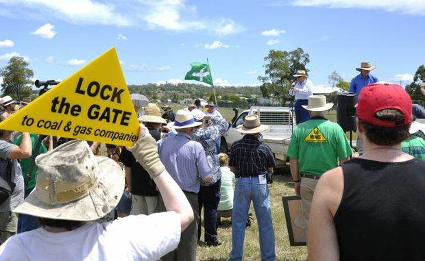 Protestors voice their concerns over New Hope&squot;s Acland coal mine at a recent rally.