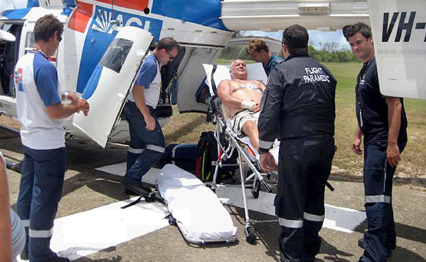 Andrew Richards was airlifted to hospital following a deadly snakebite on Fraser Island.