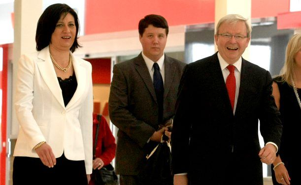 Justine Elliot and Kevin Rudd walking through Tweed City Shopping Centre last October.