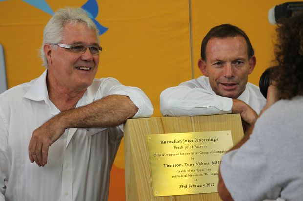 Leader of the Opposition Tony Abbott (right) seen here with Grove Juice Company co-director Greg Willis.