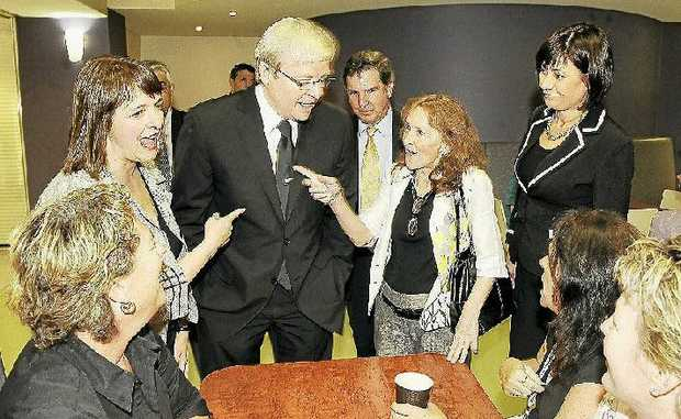 All Smiles: PM Kevin Rudd in August 2009 at Lismore Base Hospital where his  All Blacks tie became center of attention.
