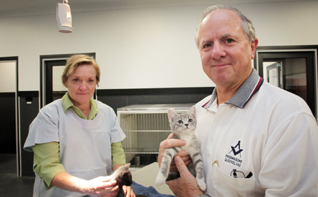 Freemasons Queensland have donated $60,000 to help RSPCA Wacol. Chief veterinarian Anne Chester and Past assistant grand master Alan Townson.