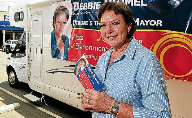 Debbie Blumel campaigns for mayor in Cooroy.