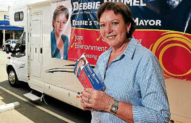 Debbie Blumel campaigns for mayor in Cooroy.