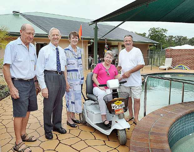 Residents of Parklands Retirement Haven Owen Hetherington (from left), Arnold and Bea Horne and Hazel and Rob Morrow will take advantage of the new community recreation building which was opened yesterday.
