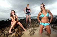 Josie Ellem, Teaghan Rees and Fiona Franklin are vying to be the face of Roxy around the world.