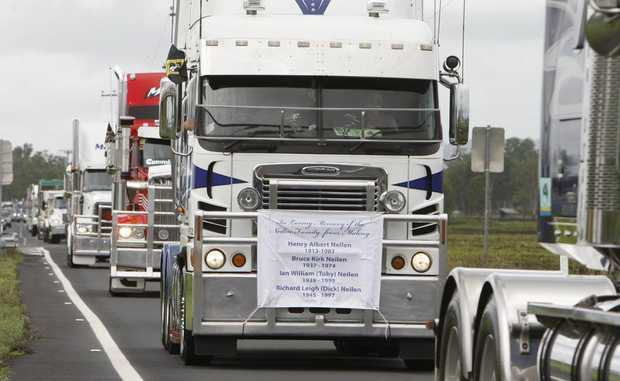 The annual Lights on the Hill truck convoy heading into Gatton on Saturday to commemorate the many lives lost in the trucking industry.