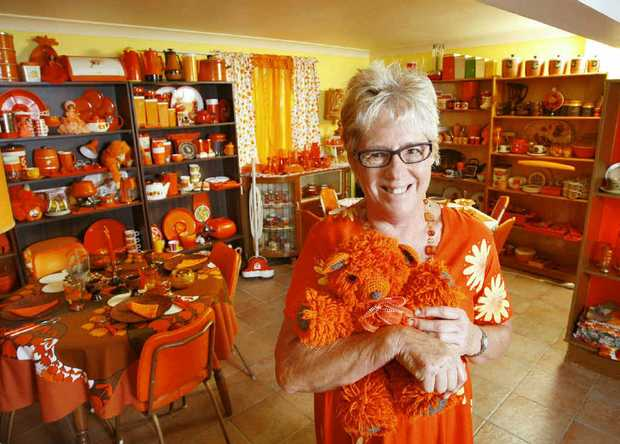 Collector Val Wheatley of Walloon has a '60s and '70s retro collection of all things orange.