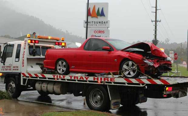 WET ROADS: Drivers have experienced wet conditions on the roads in the past week. This car was involved in a two-vehicle crash during heavy rain on Sunday at about 5pm.