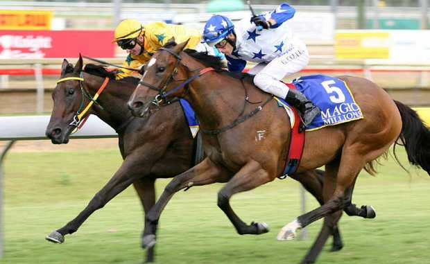 Scott Galloway on the Gympie-trained Mafia Princess just a nose in front of Snipzu in the Magic Millions at Callaghan Park, Rockhampton.