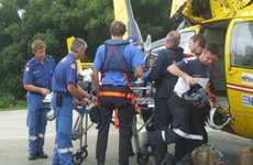 A fisherman, who severed his arm on a trawler near Angourie has been airlifted to Brisbane for surgery.