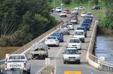 Traffic crawls over the Normanby Bridge, the only link between Gympie and Southside when Kidd Bridge goes under water.