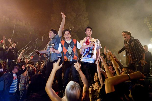 From left, Jonathan Daniel Brown, Oliver Cooper and Thomas Mann in a scene from the movie Project X.