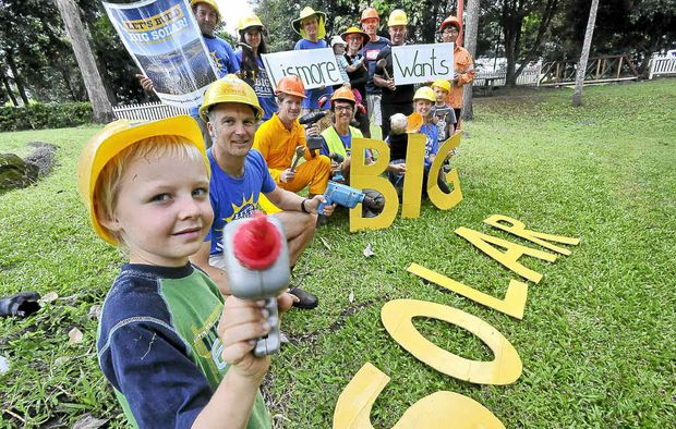 Bhodi Mackenzie, 6, of The Channon, gives his support to the Lismore Climate Action Group.