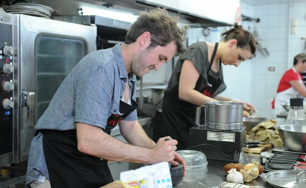 Controversial My Kitchen Rules team Thomas and Carla before being eliminated.