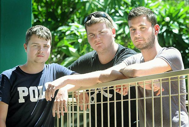 British backpackers Tom Foster, Conor Murphy and Liam Sullivan will leave with a bad impression of Hervey Bay after Liam was punched out and taken to hospital.