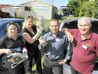 Jobfind Centre employees Stacey Macdonald, Melissa Hossack and Gwilym Lewis donate power tools to John Murdoch and the members of the Coral Coast and Bundaberg Region Men's Shed after the organisation had its tools stolen.