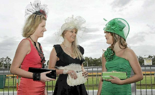 Karly Hancock, Camille Hancock and Amber Saunders will be dressed to impress at the races at Callaghan Park in Rockhampton.
