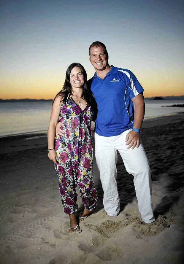 Pumpkin Island owners Laureth Craggs and Wayne Rumble at sunset on the island.