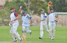 Sawtell celebrates the dismissal of Diggers Ex-Services batsman James Bellamy during the opening day's play of the major semi final at Richardson Park.