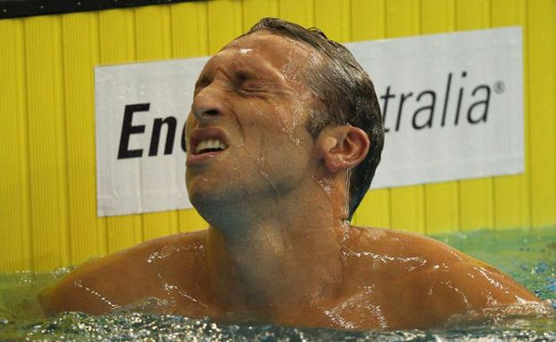 Ian Thorpe reacts after failing to qualify in the Men's 200 Metre Freestyle Semi Final