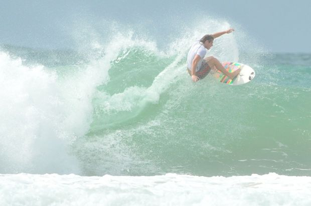 Big waves and even bigger manoeuvres at the Barney Miller Classic on Sawtell Beach.