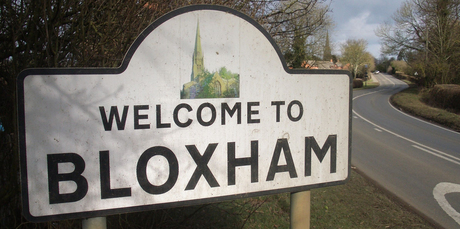 A sign welcomes visitors to Bloxham in Oxfordshire, where Jim Eagles' ancestors hail from.