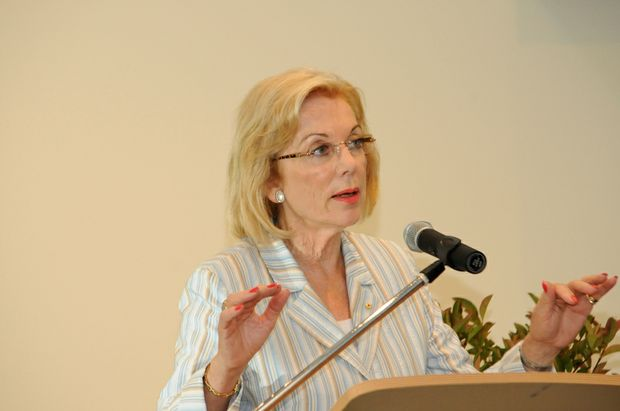 Ita Buttrose, President elect for Alzheimer's Australia, speaking at Crowley village in Ballina yesterday.